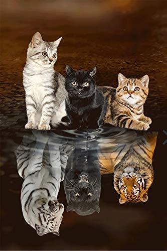 GAGALAM 1000 Pièces De Puzzle pour Adultes Tigre De Réflexion 3 Chats des Peintures d'art De...