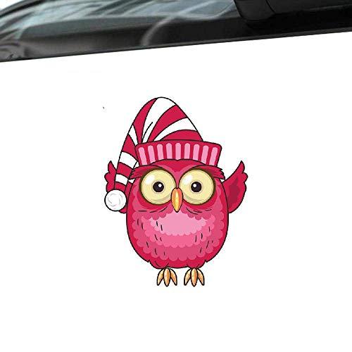 Cartoon Auto Aufkleber Schöne Eule mit Hut Auto Decor Vinyl Aufkleber für Vw Passat B6 Volvo Nissan Opel Corsa, 15 cm * 12 cm