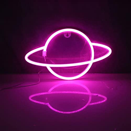 Planet Neon Signs LED Luz nocturna USB Carga/Baterías Neón Luces de Pared Luces Decorativas de Neón para el Hogar Dormitorio Bar/Navidad/Boda/Fiesta de Cumpleaños