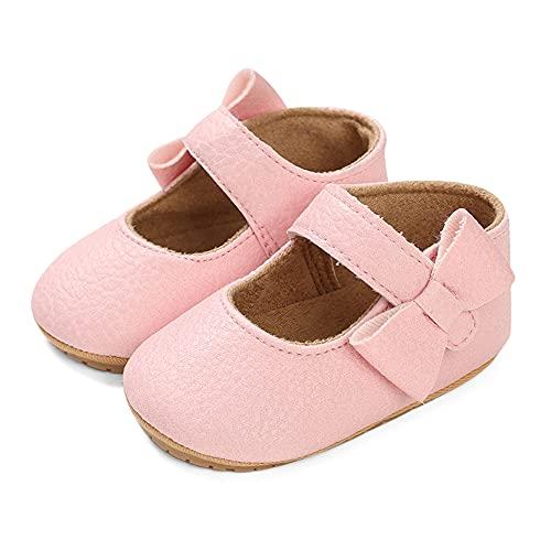 LACOFIA Ballerine neonata Scarpe da Battesimo Primi Passi Bambina Scarpine Principessa Bowknot Antiscivolo per Bimba Rosa 12-18 Mesi