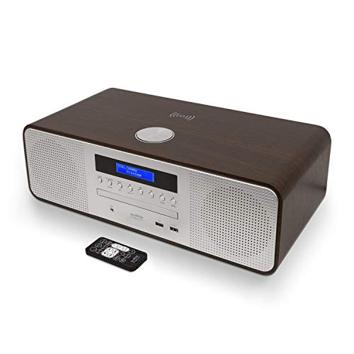 AUDIBLE FIDELITY Complete Hi-Fi Dab/Dab+ Stereo System CD Player with Speakers, Bluetooth, MP3 Playback, FM & Digital Radio, Wireless Charging & USB Charging with Remote Control