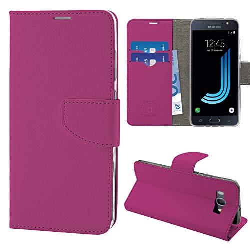 N NEWTOP Cover Compatibile per Samsung Galaxy J5 (2016) J510, HQ Lateral Custodia Libro Flip Chiusura Magnetica Portafoglio Simil Pelle Stand (Fucsia)