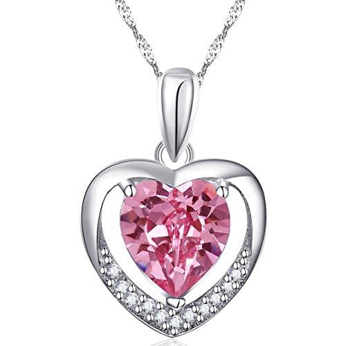 Latigerf Damen für Immer Liebe Herz Anhänger Halskette mit Kette Rhodium Plated 925 Sterling Silber Helles Rosa Kristall