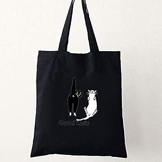 Gimax Shoulder Bags - Canvas Beach Bag Cartoon Cats Printed Shopping Bags Female Handbag Women Cat Totes Black Girls Casual Beach Shoulder Bags - (Color: Black)