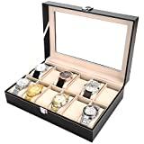 PENGKE 12 Slots Watch Box,PU Leather Watch Organizer and Display Case with Glass Lid, Black Pack of 1