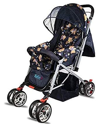 BabyGo Delight Reversible Teddy Bear Baby Stroller and Pram with Mosquito Net Mama Diaper Bag and Wheel Breaks (Blue)