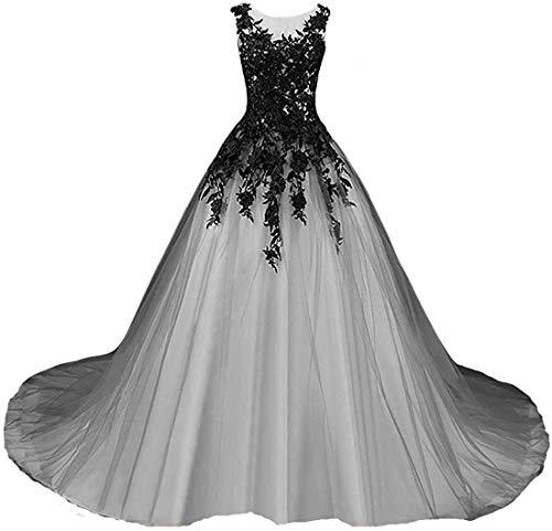 Dreammaking Damen Abendkleider Ballkleider Vintage Schwarz Weiß Elfenein Lange Brautkleider Damen Gotisch Hochzeitskleider Standesamt