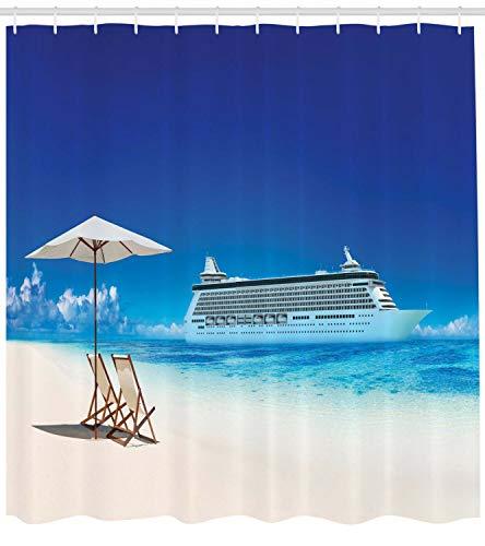 123456789 Zomer Douche Gordijn Strand Cruise Boot Reisprint voor Badkamer