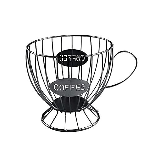 Panier Coffee Porte Capsule Café Design Original Noir - Range capsules Dolce Gusto, Nespresso, Tassimo - Rangement Support Capsules Porte Dosette - Grande Capacité (50 pcs) (Noir)