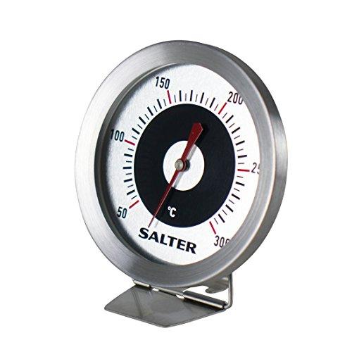 SALTER analoges Ofenthermometer, Küchenthermometer, Edelstahl, Finden Sie die ideale Gar- und Backtemperatur, Gut lesbare Anzeige, 30-300°C, Bimetall Sensor, Einstellbarer Fuß