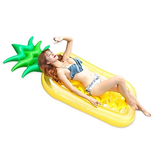 JINGJING Cama flotante de PVC para adultos con diseño de piña y agua, juguete inflable para la piscina, color amarillo