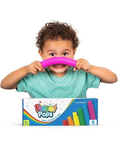 Fidget Pop Tubes Sensory Toys - Fine Motor Skills Toy for Kids - Fun Sensory Play and Construction...