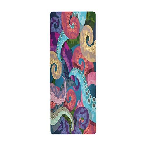 ALARGE Esterilla de yoga colorida con diseño de pulpo de animal, antideslizante, absorbente, para yoga, gimnasio, pilates, ejercicio en suelo, 180 x 66 cm, con bolsa de transporte