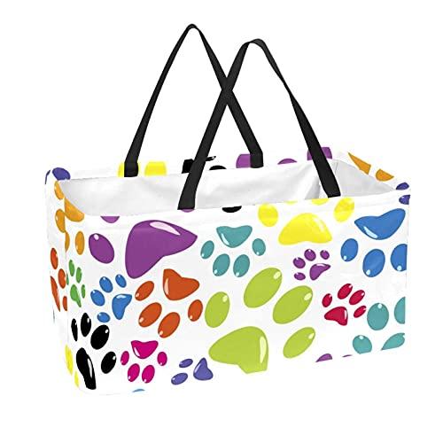La bolsa de asas reutilizable del supermercado, la cesta de compras grande, los patrones de las patas del animal doméstico del bolso del almacenamiento 50L