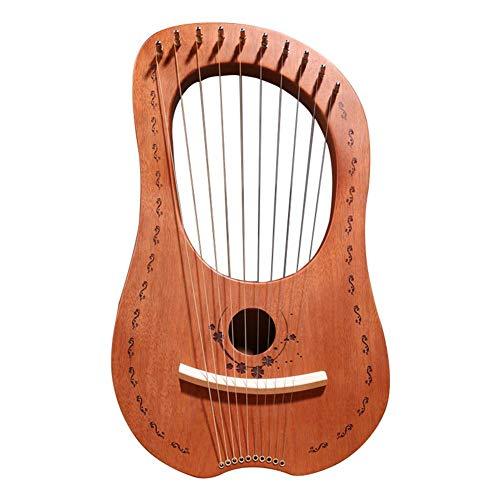 Arpa,Arpa De Lira Cuerdas De Metal De Madera De 10 Cuerdas Instrumento De Cuerda De Madera Maciza De Caoba, Arpa Pequeña Portátil Con Cuerdas De Acero Durables Instrumento Musical De Cuerda De Madera