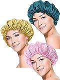 3 Pièces Bonnet de Sommeil en Satin Couvre-Chef Turbans de Cheveux de Sommeil Doux pour...