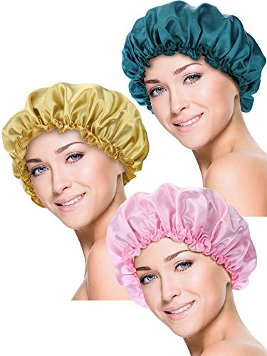 Blulu 3 Piezas Gorros de Dormir de Satén Cubierta de Cabeza de Noche Turbantes de Dormir de Pelo Suave para Mujeres y Niñas (M, Oro, Rosa, Azul Oscuro)