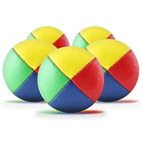 5er Set Jonglierbälle mit Jonglage-Anleitung zum Download - 62mm Jonglierball - Füllung aus nachhaltiger Vogelhirse - wasserabweisendes Kunstleder - Jonglier-Set zur Jonglage für Kinder & Anfänger