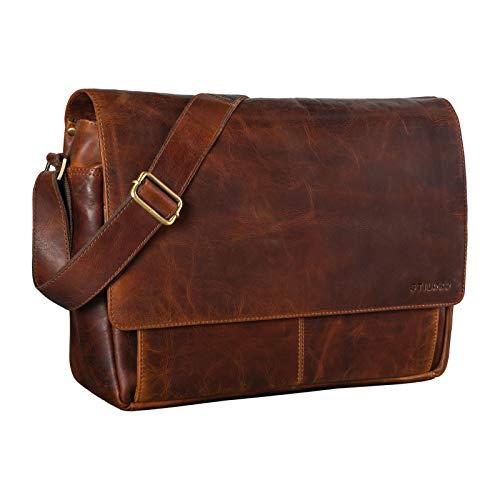 STILORD 'Lonzo' Bolso de Hombro de Piel Estilo Vintage para Hombre y Mujer Bolso de Mensajero o Bandolera para portátil de 15,6 Pulgadas de auténtico Cuero, Color:Florida - marrón
