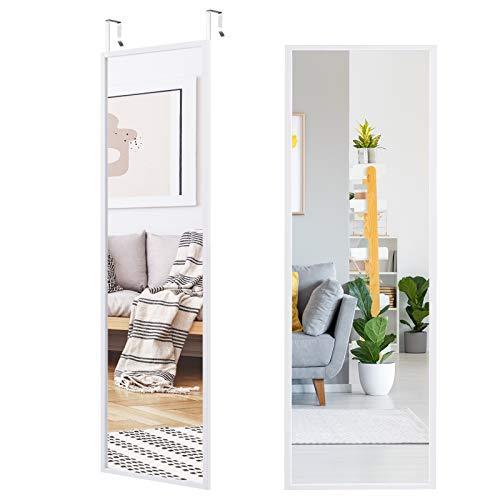 COSTWAY Wandspiegel Türspiegel Hängespiegel Ganzkörperspiegel mit höhenverstellbaren Hängehaken, Spiegel für Schlafzimmer, Wohnzimmer und Eingangsbereich 107x36,5cm