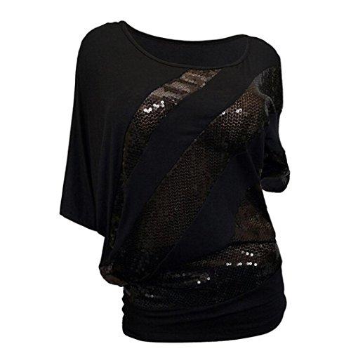 Overdose Mode Frauen Pailletten Casual T-Shirt Tops Schulterfrei Bluse Plus Größe Damen Lose Tees Hemd Freizeit Oberteile(Black,L)