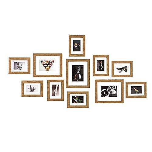 Muzilife Bilderrahmen Collagen 11er mit Passepartout Natur Fotorahmen Modern Home Family Bilderwand 8pcs 16.5x22cm + 3pcs 24x29cm (Natur)