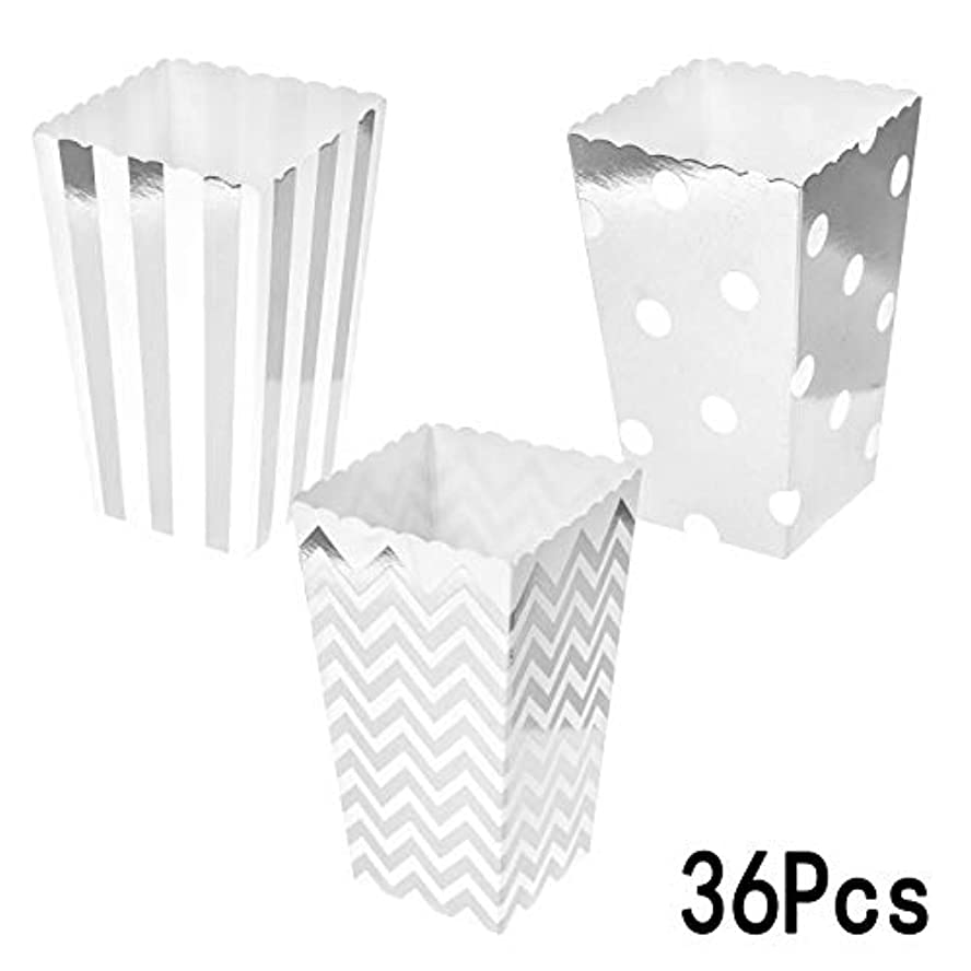 Silver Party Popcorn Treat Boxes - Wedding Bachelorette Bridal Shower Movie Theater Party Favors Mini Popcorn Candy Containers Baby Shower Birthday Party Treat Boxes Supplies, 36Ct tk03712561