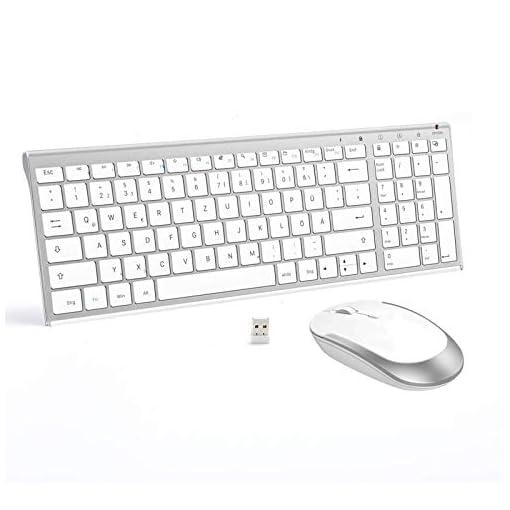 Jelly Comb Juego de ratón y teclado inalámbrico recargable QWERTZ ultra delgado de 2.4Ghz para PC, computadora de… 1