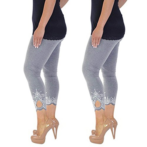 WOZOW Damen Leggings Gamaschen Solid Basic Lace Cuff Trousers High Waist Stretch Elastisch Dünn Skinny Bequem Lang Long Sport Hose Yoga...