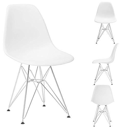 12365 Juego de 4 sillas moldeadas modernas de mediados de siglo con patas de metal para salón de oficina (blanco)