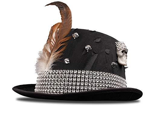 Plitsch Platsch Hut Voodoo, Knochen, Federn und Totenkopf, schwarz, Zylinder, Halloween, Motto Party, Karneval