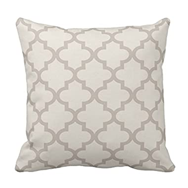 Emvency Throw Pillow Cover Patterned Moroccan Quatrefoil Pattern Beige and Trellis Decorative Pillow Case Home Decor Square 18 x 18 Inch Pillowcase