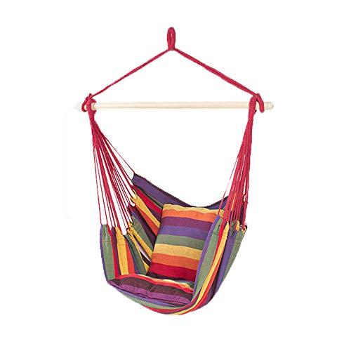 Hangmat schommelstoel, zachte gewatteerde touw opknoping schommelset, tuin opknoping touw hangstoel veranda schommelstoel met twee kussens voor werf veranda terras