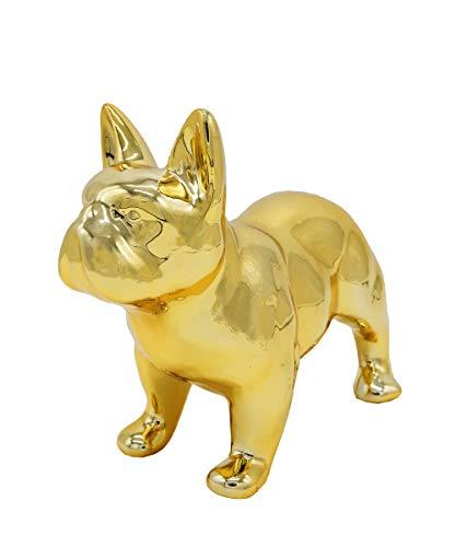 Nayothecorgi Ceramic Dog Statue - Standing French Bulldog (Metallic Gold)