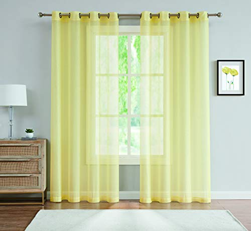 "DecoSource Best Sheer Grommet Window Curtains Panels for Bedroom, Living Room, Kitchen, Kid's Room and Outdoors Durable Polyester-2 Pieces (54"" W x 84, Yellow)"
