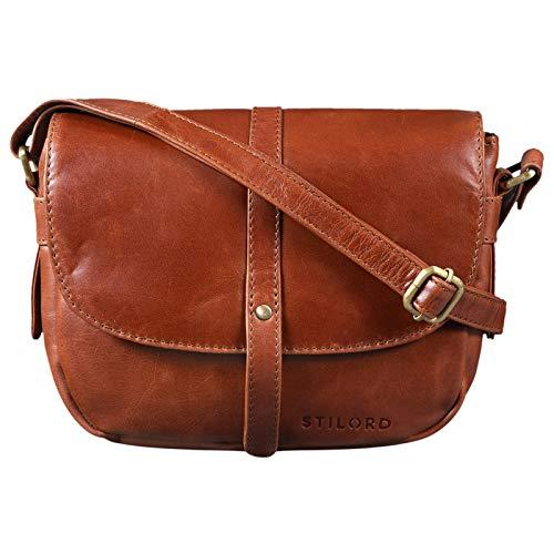 STILORD 'Clara' Kleine Umhängetasche Frauen Leder Vintage Handtasche zum Ausgehen Klassische Abendtasche Partytasche Freizeittasche Echtleder, Farbe:Cognac - glänzend
