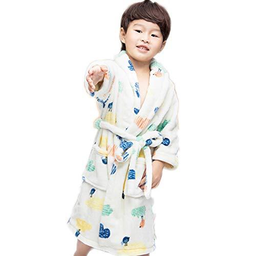 Kinderen Badjas, Boys Thicken Flanel badjas Coral Velvet Toweling Robe voor Babys Jongens Meisjes,White,XS