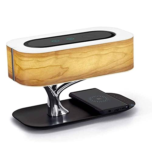 Lámpara De Noche Con Altavoces Bluetooth Y Cargador Inalámbrico, Lámpara De Mesa De Atenuación Continua, Lámpara De Escritorio Con Modo De Reposo Para Sala De Estar De Sala De Estar Sala De Estudio