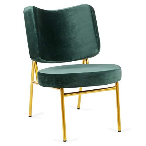 Mc Haus OSHA - Sillón Comedor de color Verde pino, Butaca Salón Tapizado en terciopelo, Asiento Acolchado cómodo y patas de metal color Dorado 62,5x56x81cm