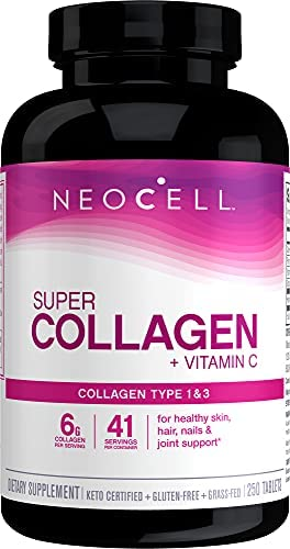 NeoCell Super Collagen with Vitamin C, 360 Collagen Pills, #1 Collagen Tablet Brand, Non-GMO, Grass Fed, Gluten Free, Collagen Peptides Types 1 & 3 for Hair, Skin, Nails & Joints (Packaging May Vary)