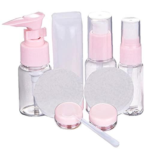 Botellas de viaje Travel Set cosméticos de maquillaje de almacenamiento recargable vacío de líquidos de contenedores 9PCS, botellas rellenables y accesorios