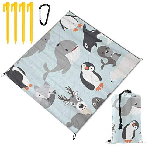 HARXISE Tapis de Pique-Nique,Polar Arctic Animals Cartoon Collection Winter Bear Penguin Simple,Imperméable Anti Sable Tapis Pliable Portable Couverture,Pique-Nique,Camping,Èvénements en Extérieur