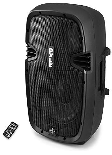 """Powered Bluetooth PA Microphone System - 15"""" Active Bass Subwoofer Loudspeaker Built-in USB for MP3 Amplifier - DJ Party Portable Sound Stereo Amp Sub Concert Audio or Band Music - Pyle PPHP1537UB"""