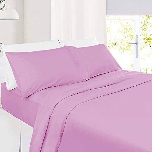 5 PC Split Cal-King| Lilac Bed Sheet Set 100% Organic Cotton Split Sheet Set for Adjustable Bed Long Staple Soft Cotton Yarns Premium 600 Thread Counts Split Sheet with Extra 32' Deep Mattress