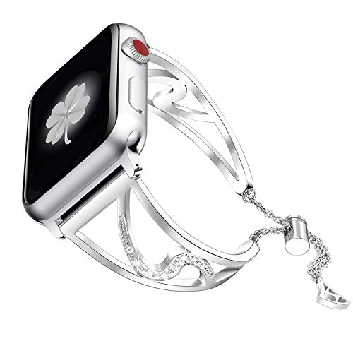Secbolt Bling Bands Compatible with Apple Watch Band 38mm 40mm iwatch SE Series 6/5/4/3/2/1, Stainless Steel Dressy Jewelry Diamond Bracelet Bangle Wristband Women, Silver
