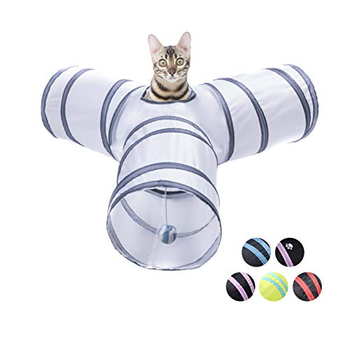 Cat Tunnel,3 Ways Pet Long Tunnels Toys For Indoor/outdoor Cats,Pet Foldable...