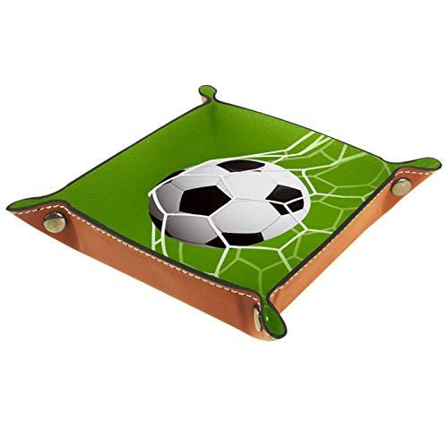 YATELI Caja de Almacenamiento pequeña, Bandeja de Valet para Hombre,Deporte de Futbol,Organizador de Cuero para Llaves de Caja de Monedas
