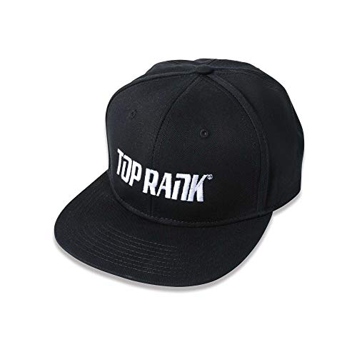 TOP RANK Boxing Snapback 6-Panel Hat, Embroidered Logo, White/Black