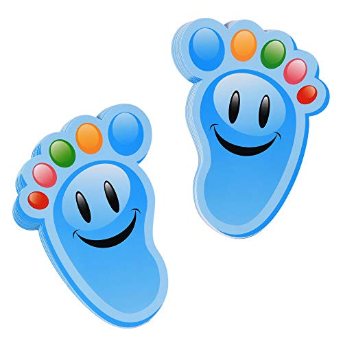 Bluecell 15-Pairs Cartoon Guide Self-Adhesive Footprints Stickers Floor Decals for Kids Room Party Nursery Floor Stairs Decor (Blue)
