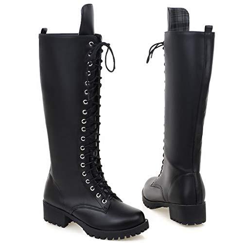 HULKY Botas Altas Mujer Plataforma Zapatos con Cordones con Piel Botas Militares Botas Punk Moto Calzado Casuales Clásicos Otoño Invierno (Negro,39)